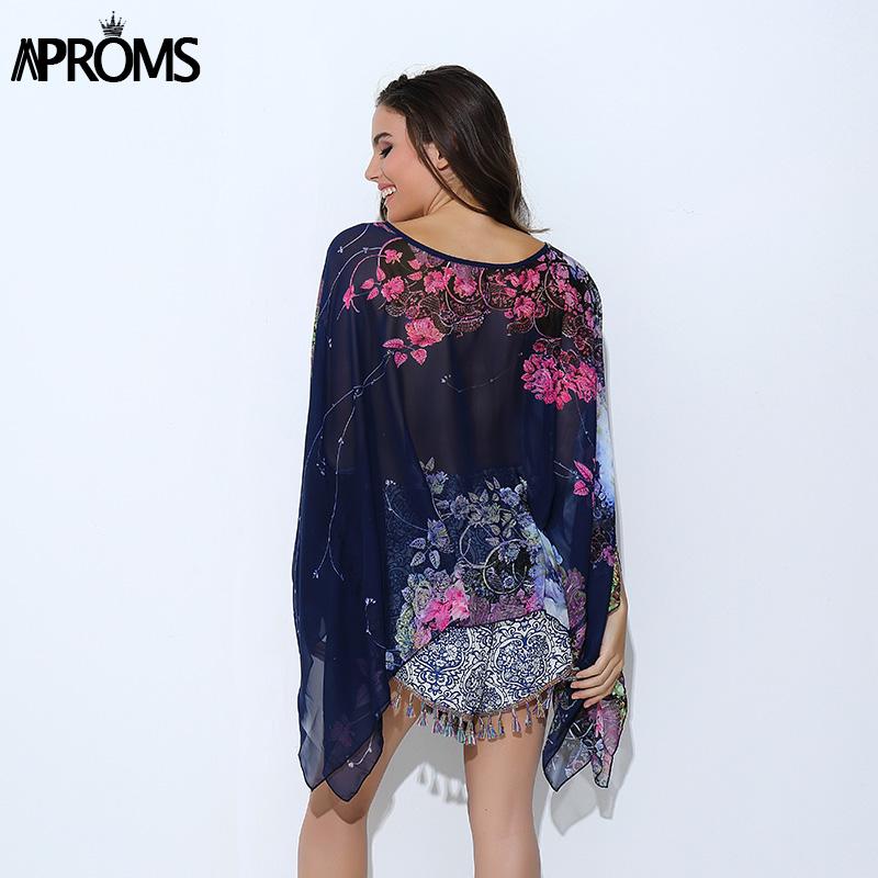HTB12u1dPVXXXXbsXpXXq6xXFXXXr - Boho Batwing Sleeve Chiffon Blouse Women Casual Floral Kimono Shirts