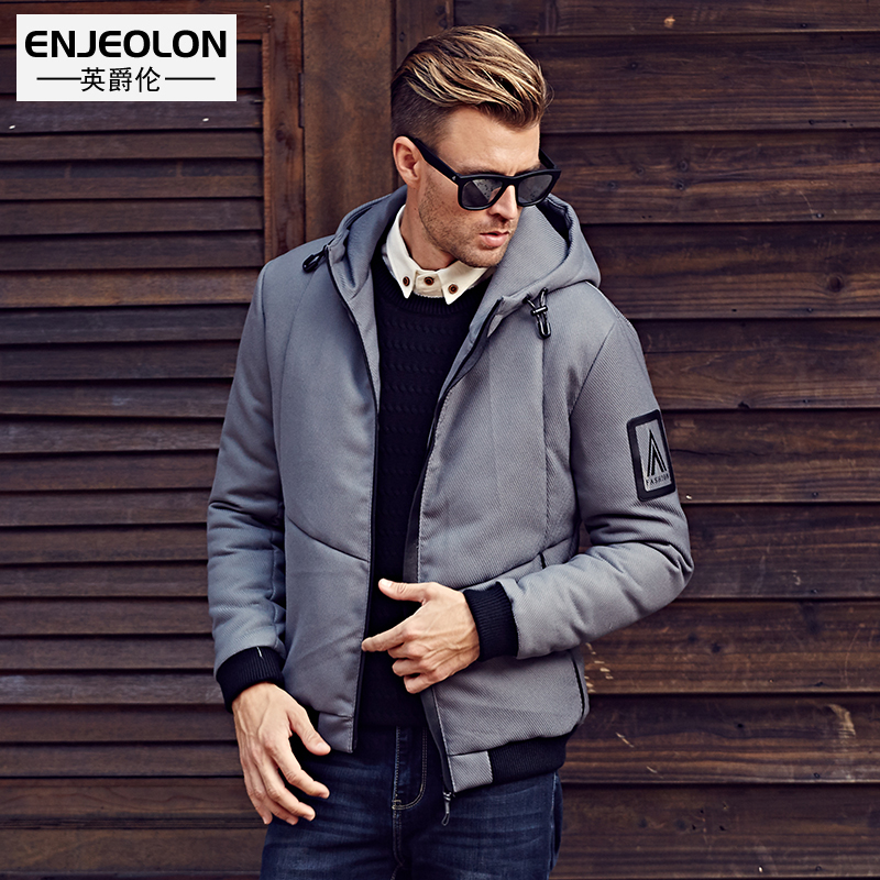 Enjeolon Brand Cotton Padded Hooded Jacket Men windproof Parka Men Clothing Thick Quilted short black Coat Mens Hoodies WT0253 relogio strap black and coffee genuine leather alligator crocodile grain watch band