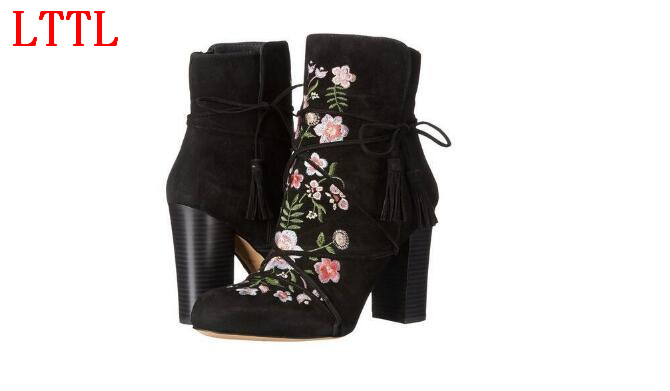 Autumn boots round toe super high chunky heels ankle boots flower decoration women shoes with embroidery suede boots black