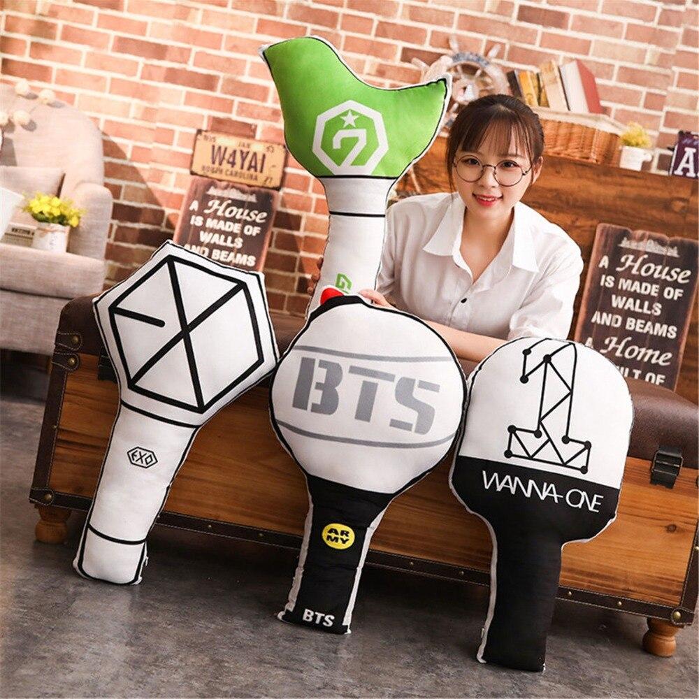 Humor Kpop Bts Exo Got7 Twice Army Light Stick Plush Wands Throw Pillow Cute Sofa Cushion New 2018 Fashion Costume Props