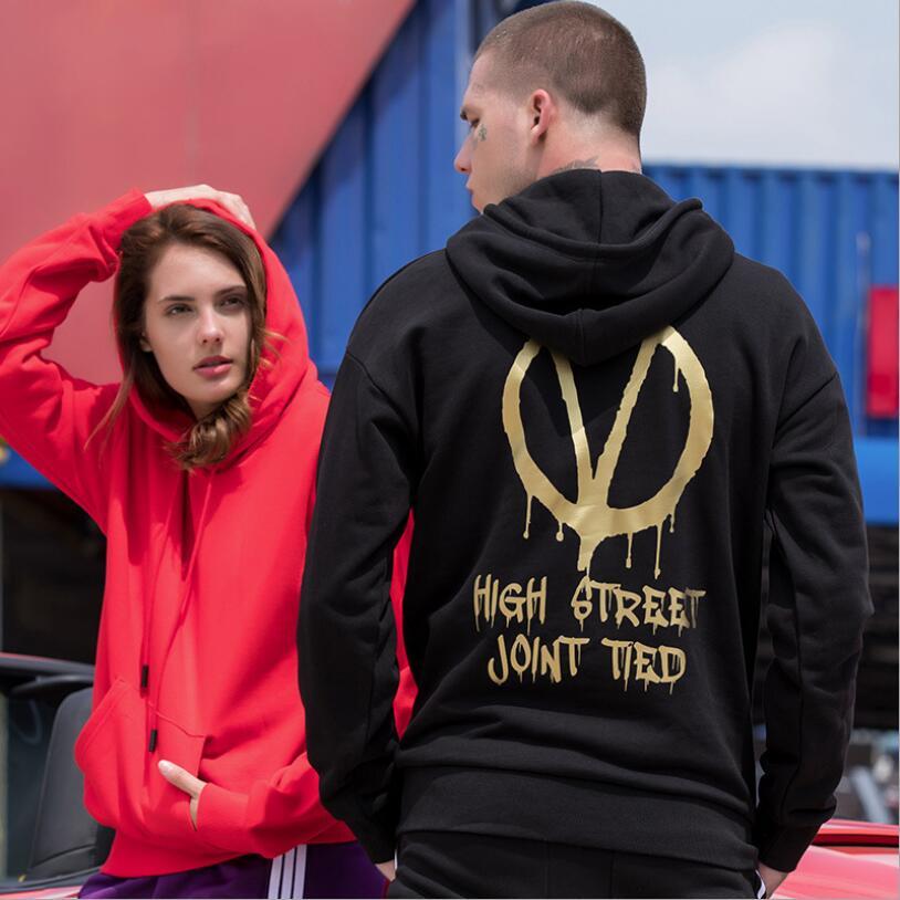 Couleur Shirts De Capuchon Manches Avant Pure Lâche Longues Homme Hommes Imprimé Poche Hop Amant Mode 2018 Hip Automne Hoodies À tIZHqXx