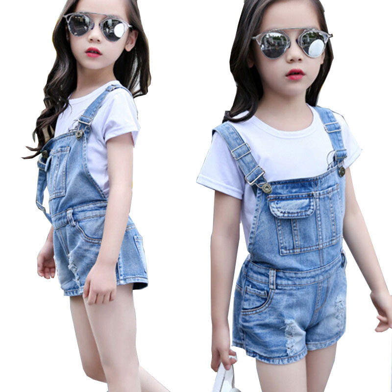 Girls shorts children Summer Denim Overalls kids Clothing girls Casual shorts teenage Solid suspender trousers Girl Denim Jeans destroyed raw hem denim shorts