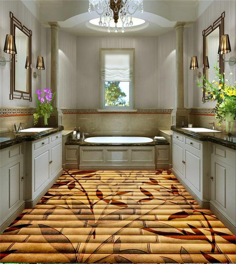 3d room floor custom waterproof wallpaper font b bamboo b font parquet painting photo bathroom font