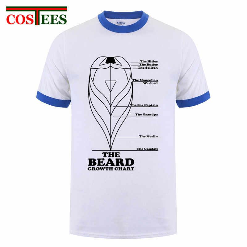 Funny Men T Shirt Beard Growth Chart Man Male Nature Cotton Camisetas