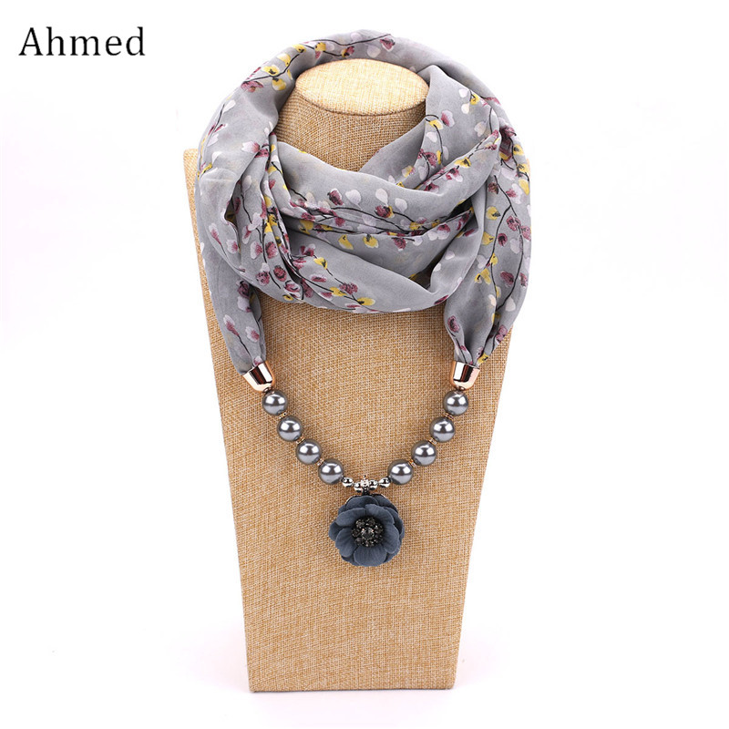 все цены на Ahmed Fashion Chiffon Printed Pearl Flower Pendant Scarf Necklaces for Women New Statement Necklace Charm Collar Jewelry