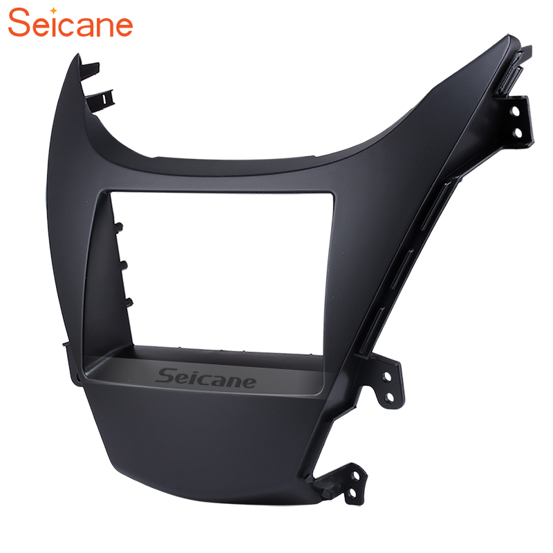Seicane Black 2Din Car Fascias Stereo Frame Refitting Trim Mount Kit For HYUNDAI ELANTRA 2010