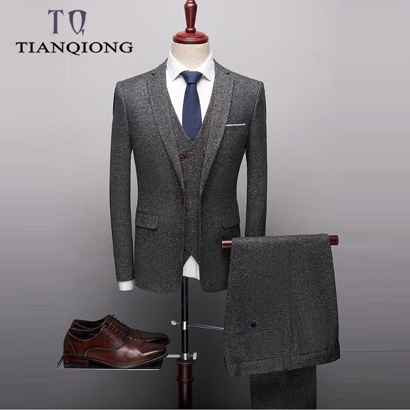 High Quality Classic Grey Black Red Suit Men Designer Slim Fit Mens Wedding Suits 3 Piece Business Office Formal Dress Suit