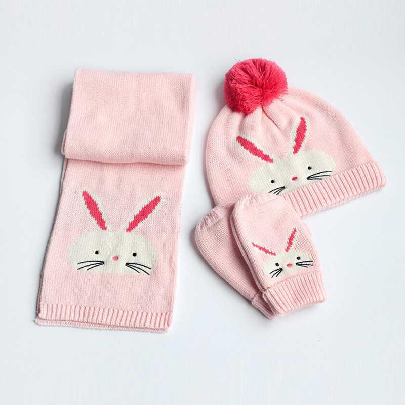 488343618 ... Winter Children Hat Scarf Mittens Fashion Rabbit Knitted Baby Kids  Beanie Caps Scarfs Warmers Gloves for ...