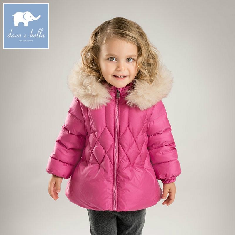 DB5937 dave bella winter infant baby girls down jacket children white duck down padding coat kids hooded outerwear