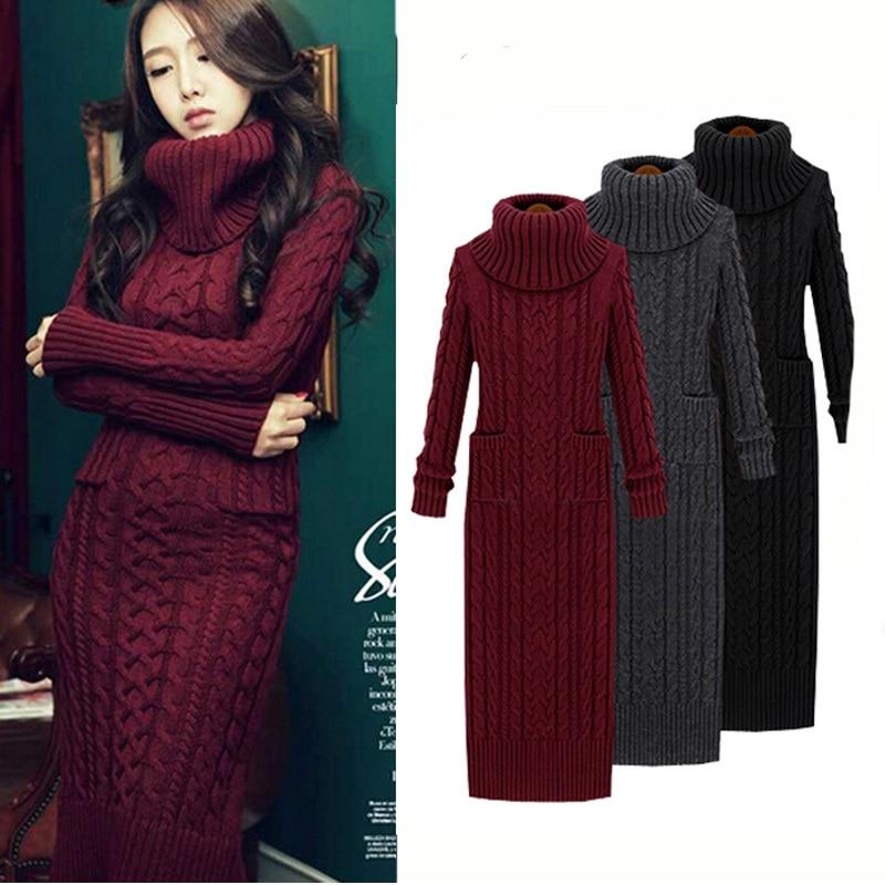 2015 mujeres del otoño suéter vestido suéteres largos de