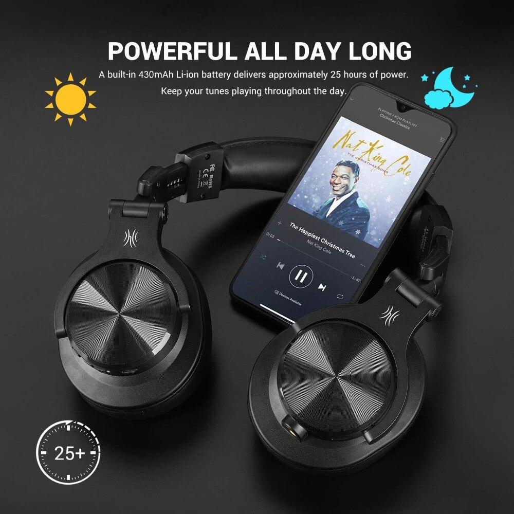 Casque d'écoute Bluetooth Fusion OneOdio, casque d'enregistrement Studio avec port partagé, moniteur professionnel filaire/sans fil - 5