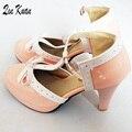 Marca Primavera E Outono Mulheres Sapatos Bowtie Moda Recortes Plataforma Princesa Bombas Senhoras de Salto Alto Sapatos Lolita Tamanho 34-43 YN