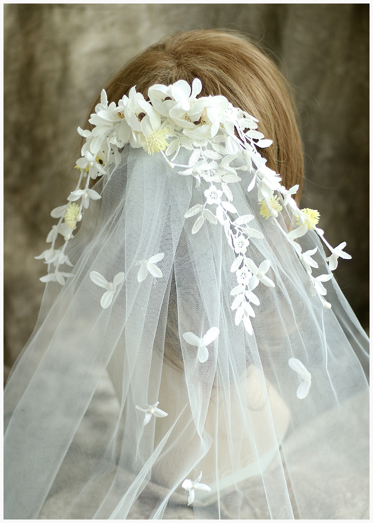 New Bridal Flower Veil Sweet Tiara Wedding Hair Accessories Jewelry ...