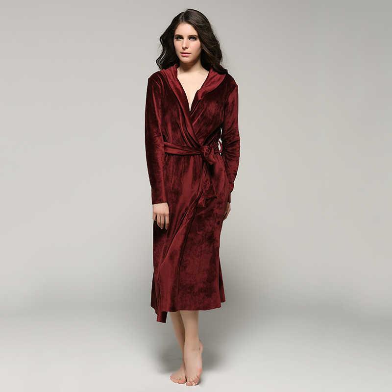ffa3da0775 Women and Men High Quality Super Soft Fleece Velvet Couple Full Length  Bathrobe Robes Lounge Wear