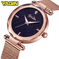 YAQIN brand sports women's watch stainless steel mesh belt fashion quartz watch lady Montre Femme watch women Relogio Feminino
