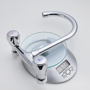 Image 3 - SHAI Wall Mounted Kitchen Faucet Wall Kitchen Mixers Kitchen Sink Tap 360 Degree Swivel Flexible Hose Double Holes