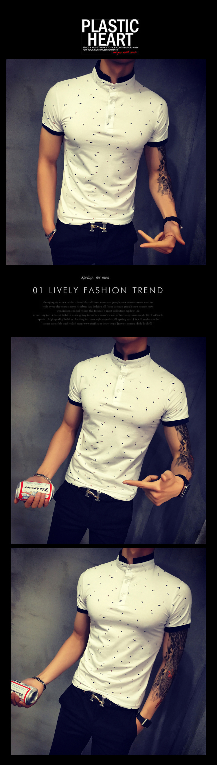 2017 Summer Guitar Printed Stand Collar Polo Shirt Men Short Sleeve Casual Men Shirts Slim Fit Polo Homme Cotton Mens Polos 9