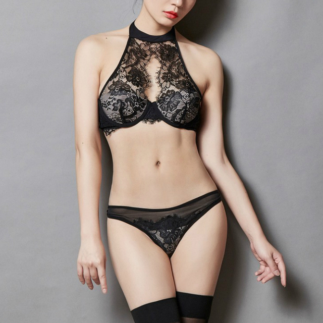 f785e736dbec2 French high-end sexy women bra set brand lace ultra-thin strapless beauty  halter lingerie vintage lash transparent underwear set