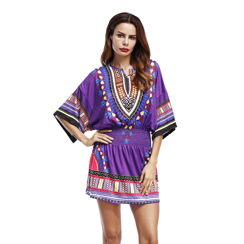 Plus Size Women Bohemian Dress V-neck Short Sleeve Totem Printing Short Dress Batwing Sleeve Loose Casual Mujer Vestidos Robe