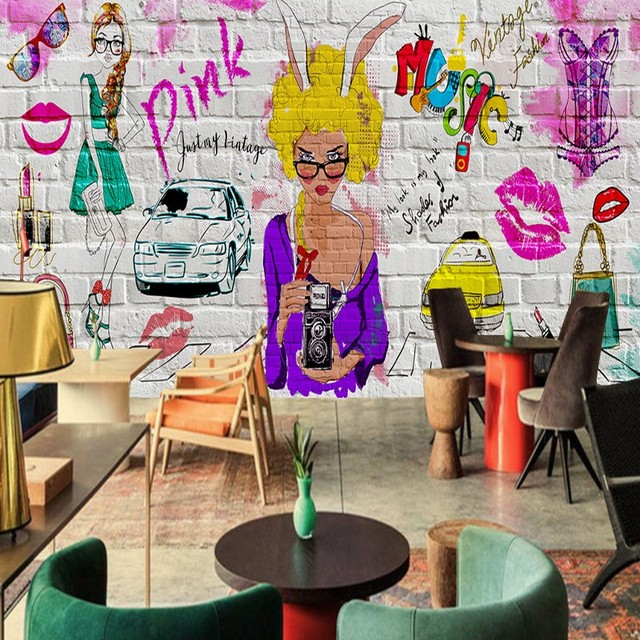 wallpaper for walls 3 d fashionable colorful graffiti beauty