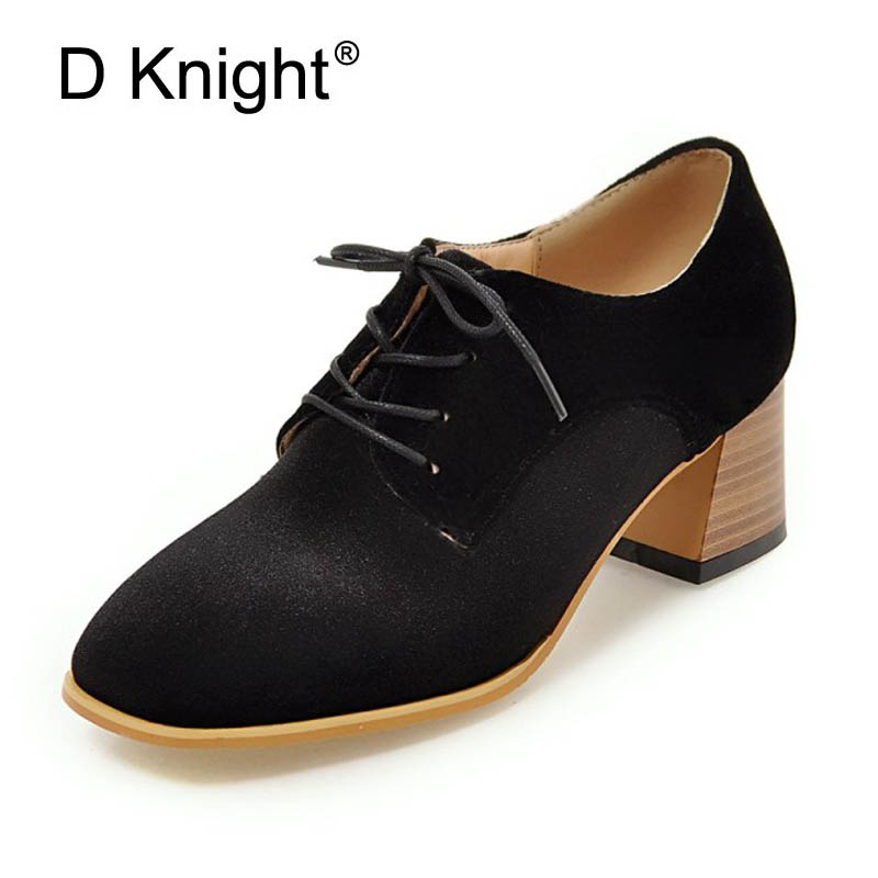 D Knight Women Pumps Fashion Plus Size 33-43 Square Toe Strange High Heels Lace Up Office Lady Woman Shoes Black Green Purple comfy women pointed toe square high heels office shoes woman flock ladies pumps plus size 34 40 black grey high quality