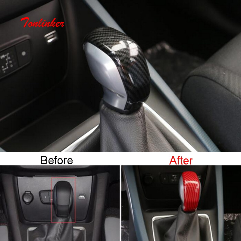 Tonlinker Interior Car Gear Head Cover Case Sticker For Citroen C3 Aircross 2017-19 Car Styling 1 PCS ABS Carbon Cover Sticker