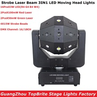 Laser Strobe Beam 3IN1 Professional Moving Lights 16X3W LEDS + 4X15W Strobe Beads Stage Effect Lights With RG TWO Color Laser