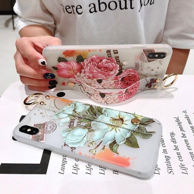 SoCouple Holder Phone Case For Xiaomi 8 9 5X 6X CC9 A3 Lite Redmi Note 4X 5 5A 6 7 Pro K20 Flower Soft TPU Wrist Strap Case
