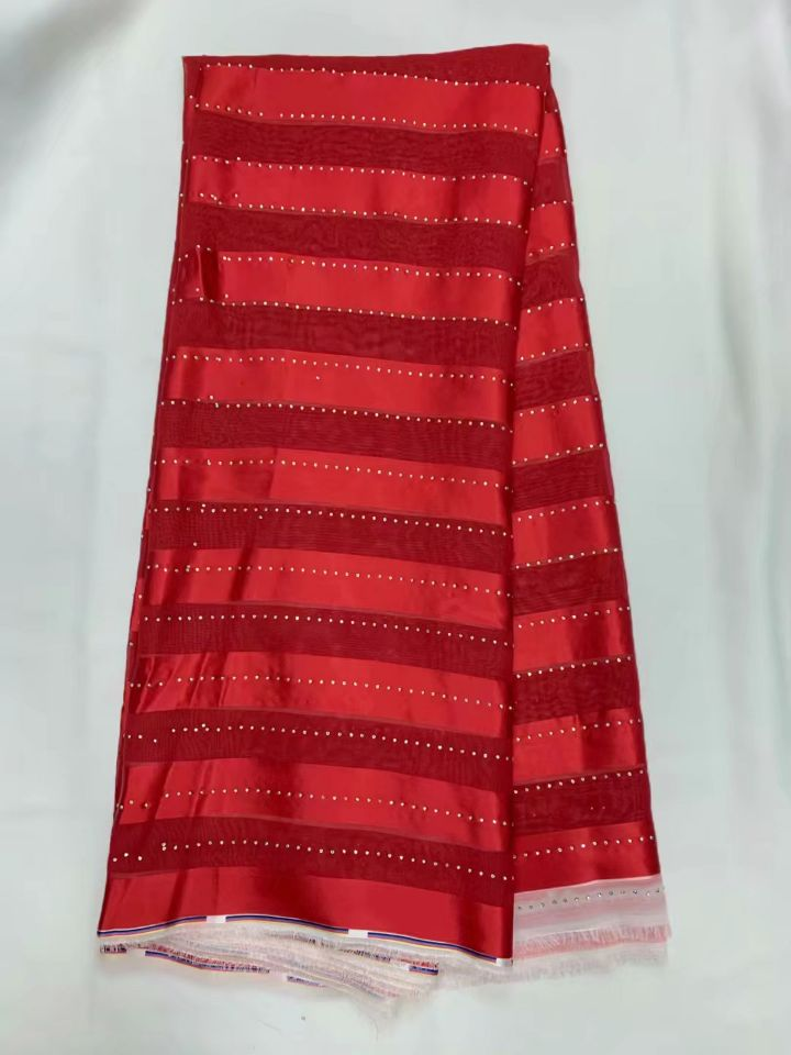 5 Yards/pc merveilleux rouge mousseline de soie dentelle tissu avec strass africain lisse satin dentelle tissu pour robe LG1 11-in Dentelle from Maison & Animalerie    1