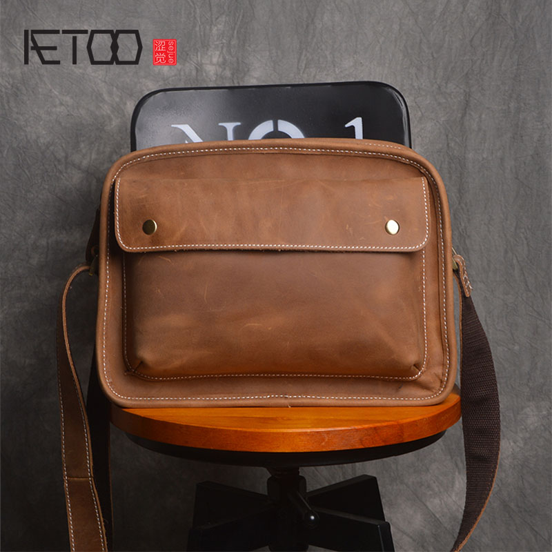 AETOO Retro Men 's Bag Shoulder Bag Leather Messenger Bag Trends First Layer Leather Business computer bag large handbag men men s leather oblique cross chest packs of the first layer of leather deer pattern men s shoulder bag korean fashion men s bag