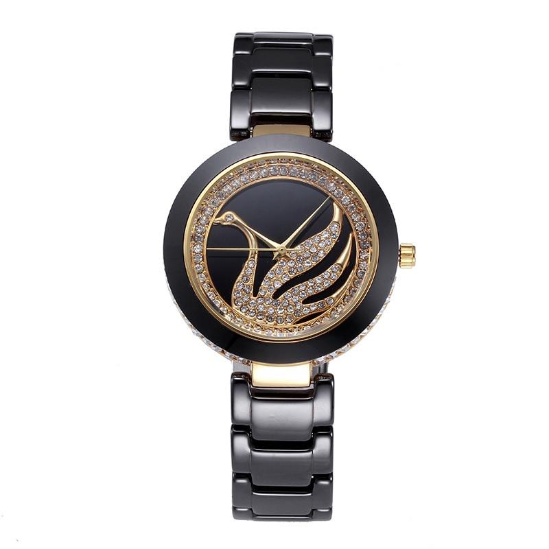 bbe0610c846e Miss Fox de lujo marca negro blanco cisne de cerámica cuarzo mujeres reloj  rhinestone relojes citas oro diamante reloj genuino en Relojes de cuarzo de  ...