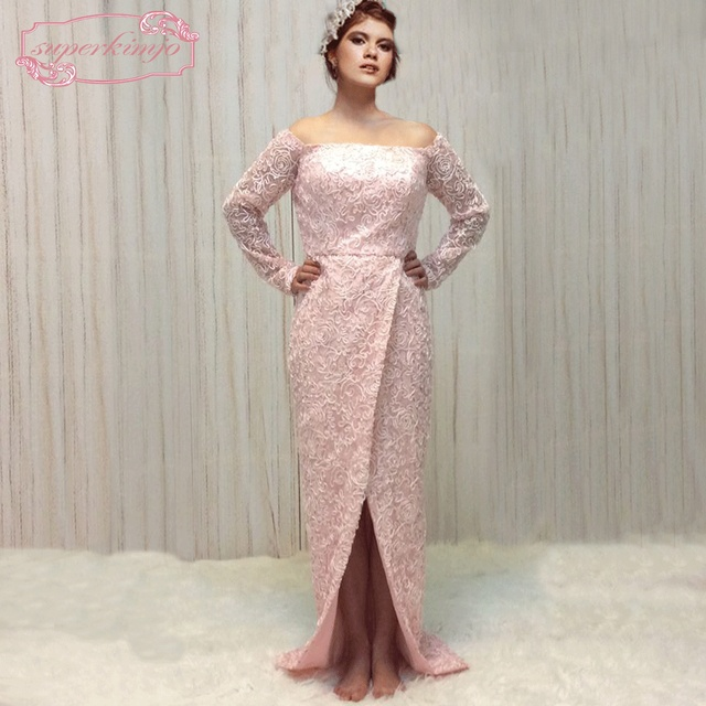 SuperKimJo 2018 New Arrival Formal Dresses Long Sleeve Pink Lace ...