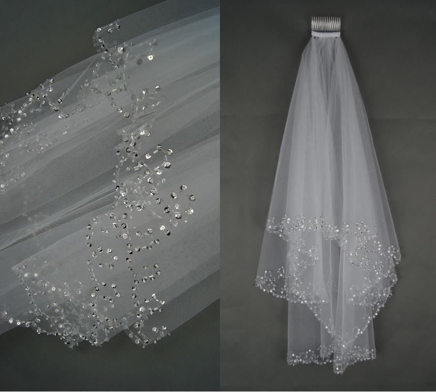 Купить с кэшбэком 2 Layers white Ivory Pearl  Beading Sequines Elbow Length Satin Edge Wedding Bridal Veil with Comb