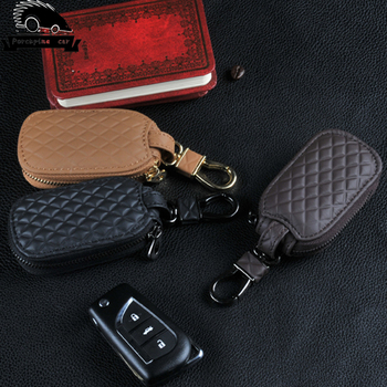 Genuine Leather Car Keychain Key Bag Case Covers Wallet For AUDI BMW BUICK CADILLAC CHEVROLET Mercedes Honda Hyundai Volvo VW image
