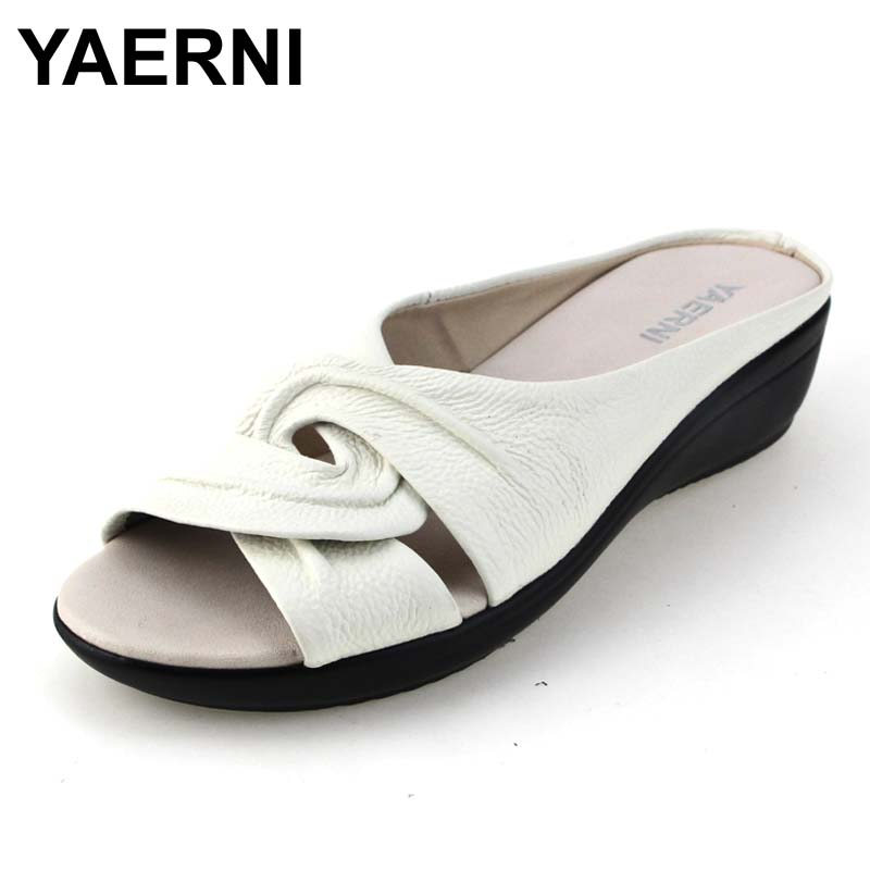 YAERNI casual genuine leather shoes woman summer solid women slippers fashion 4 colors wedges sandals women flip flops wastyx new 2017 summer fashion cowboy women sandals casual women flip flops shoes wedges shoes woman