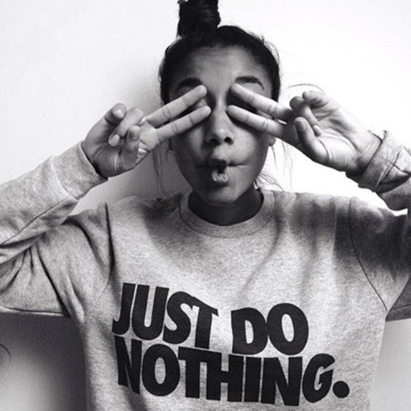 Harjuku Just Do Nothing с надписью sudaderas mujer модная женская Повседневная Толстовка с капюшоном и длинным рукавом, джемпер, пуловер, толстовка, топы, рубашка