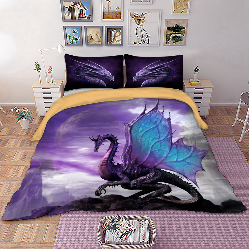 Wongs bedding flying dragon Bedding Set 3d Duvet Cover purple color twin queen size Bedclothes 3pcs Home Textiles fast delivery in Bedding Sets from Home Garden