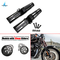 Aluminum 39mm Fork Shrouds Boots Covers Black Deep Cut Narrow Glide For Harley Dyna Sportster XL 1200 883 Iron 48 72 WISENGEAR /