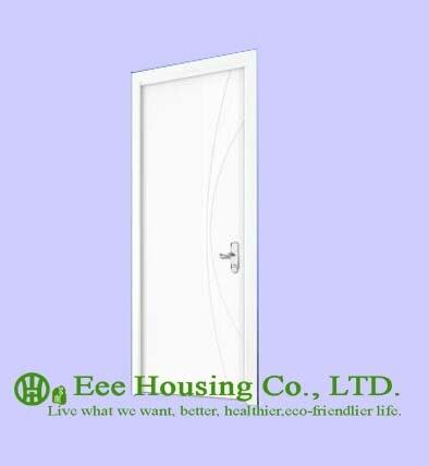 40mm Thickness White Timber Veneer Door For Apartment, Swing Type Door, Inward & Outward Opening Entry Door, MDF Timber Door