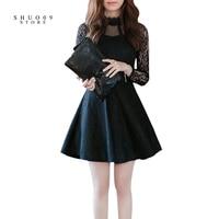 2018 New Fashion Spring Autumn Women Lace Dress Sexy Elegant Dress White And Black Half High