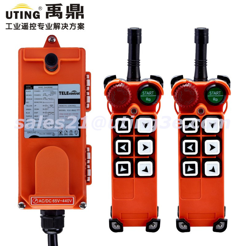 Industrial  Radio Wireless Remote Control 6 Buttons channels one step F21-E1 for Hoist Crane 2 Transmitter and 1 Receiver f21 e2 radio industrial remote control for crane 6 button 1transmitter 1receiver