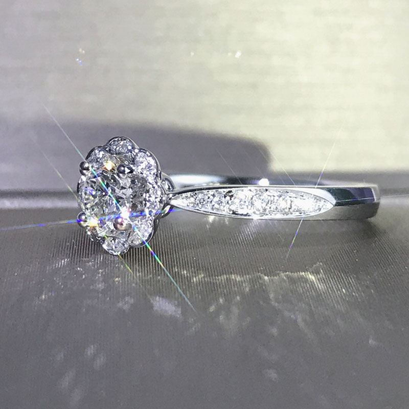 Boda 100% Moissanite diamante anillo genuino 18 K 750 oro D color VVS MO 0013-in Anillos from Joyería y accesorios    3