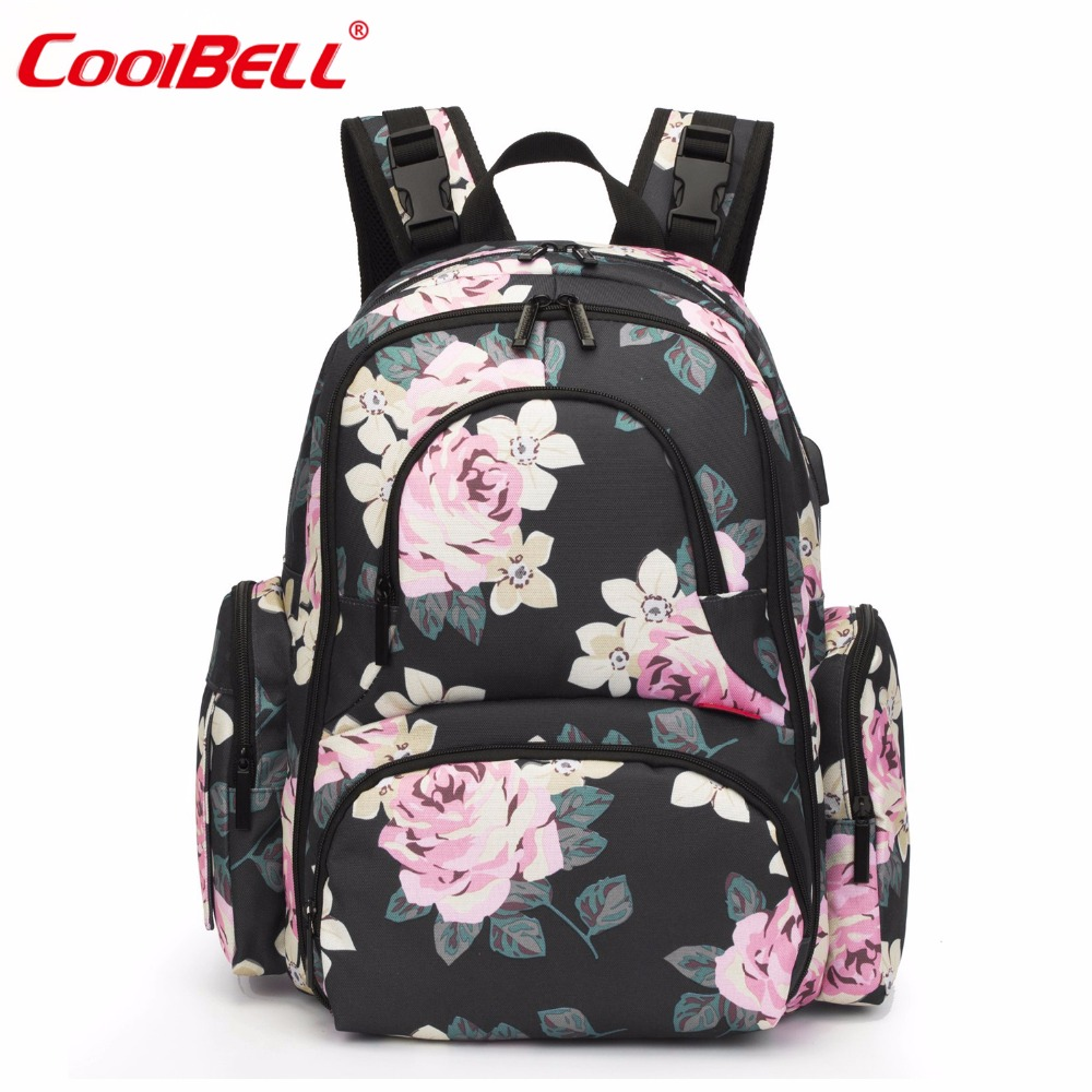 Baby Nappy Bag Backpack With USB Port Nylon Waterproof Stroller Bag With Insulated Pockets Mom Backpack