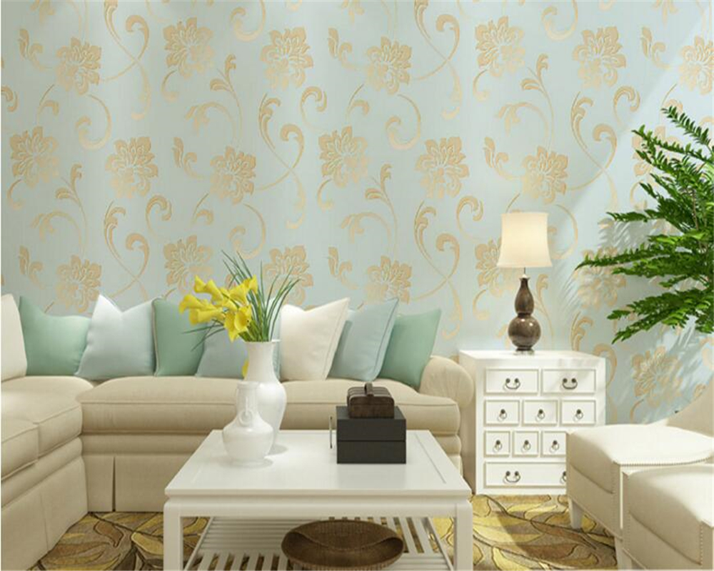 beibehang Korean pastoral three - dimensional relief non - woven wallpaper background wall fine embossed papel de parede behang beibehang papel de parede high quality modern simple non woven wallpaper 3d three dimensional flocking embossed wall paper