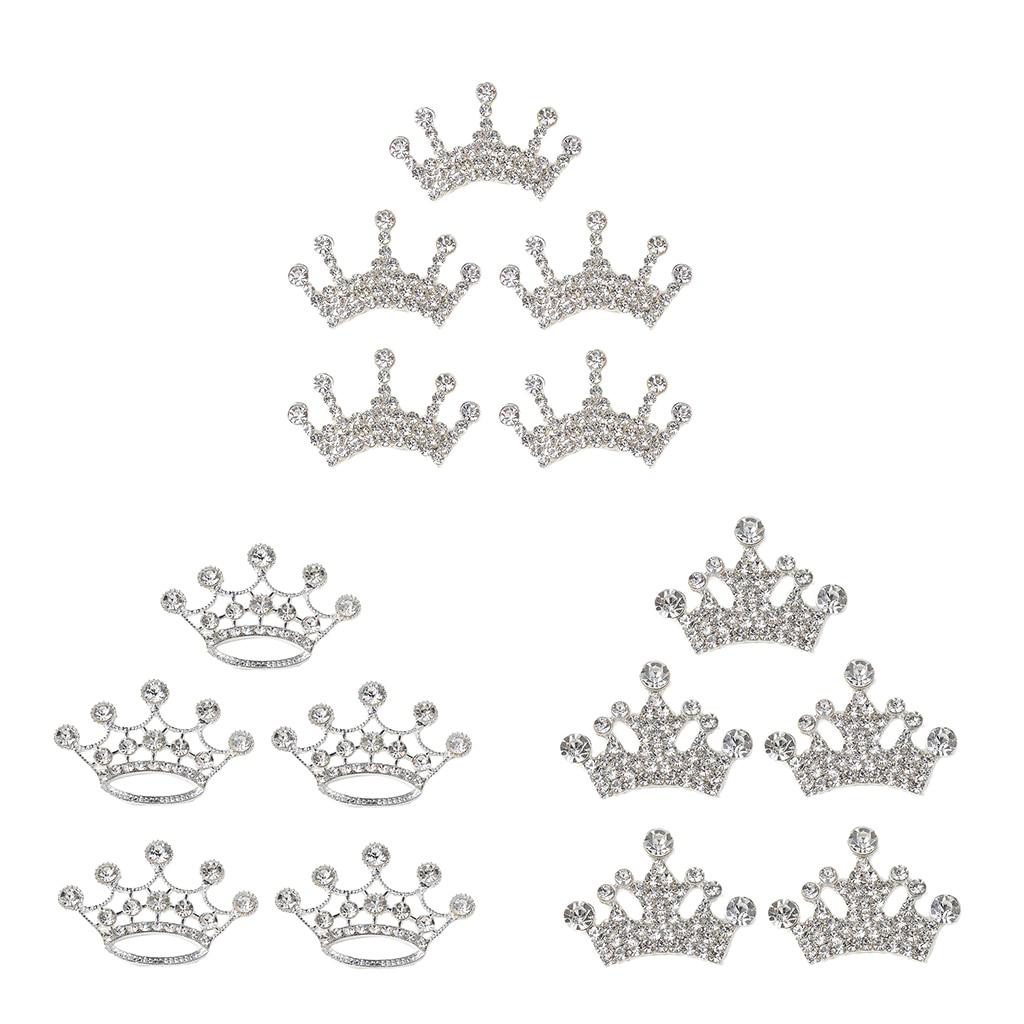 10x Silver Metal Rhinestone Crown Flatback for DIY Wedding Scrapbook Decor
