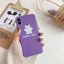 6 6s case for iphone xr x xs max purple happy bear cartoon phone cover 7 8 plus cute women soft capa fundas