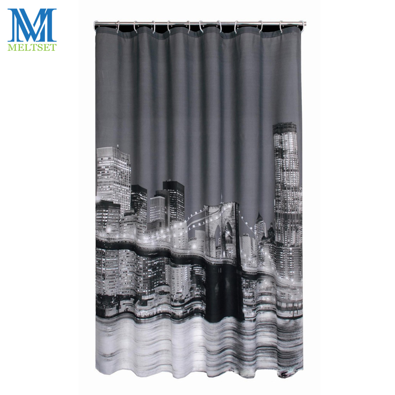 Modern City Night Scene Waterproof Shower Curtain Bathroom Products Polyester Bath Curtain 180x180CM