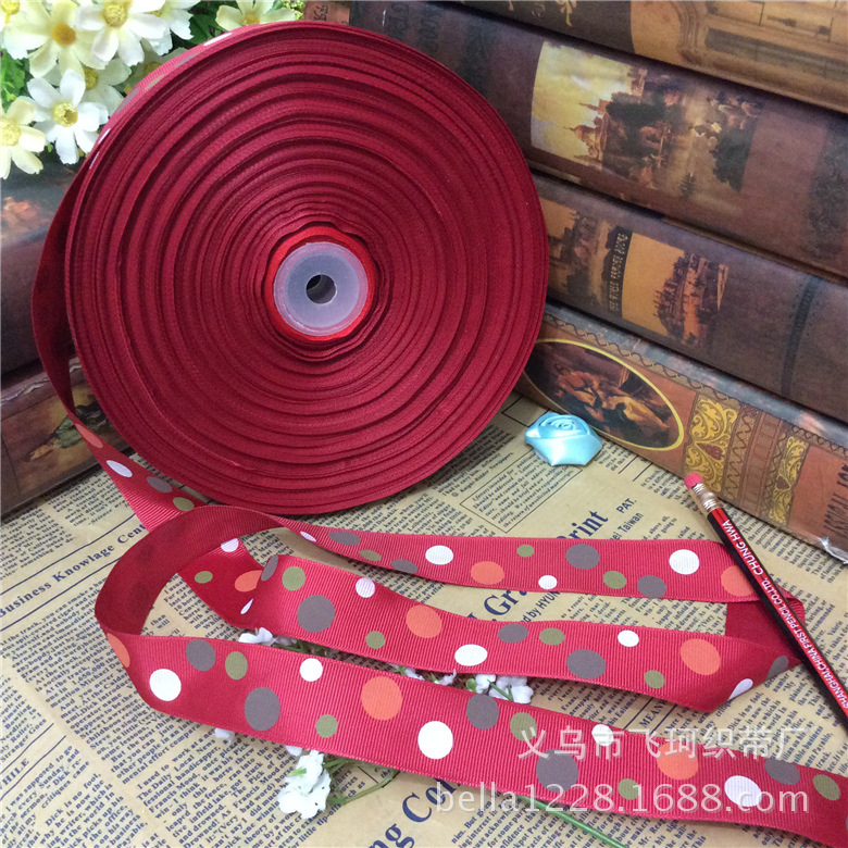 2.5 см нить ленты печати четыре цвета размер точка лук упаковка подарочная коробка с свадебное Hi