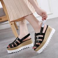 European Superstars Platform Sandals Height Increasing Slip On Brogue Designer Summer Shoes Woman Open Toe Slides Beach Sandals