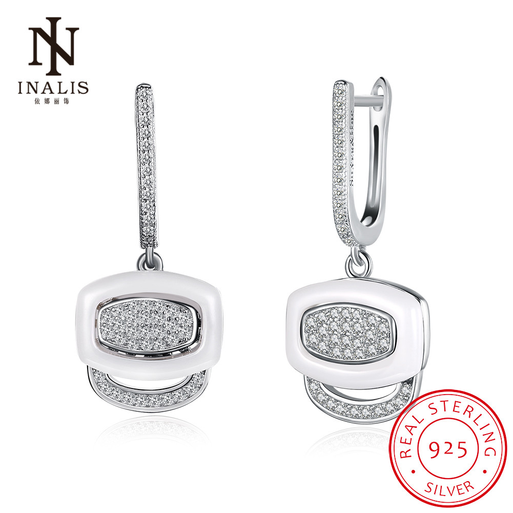INALIS Original White Gold Ceramic 925 Sterling Silver Crystals Drop Dangle Earrings Female Fine Jewelry Wedding Accessories
